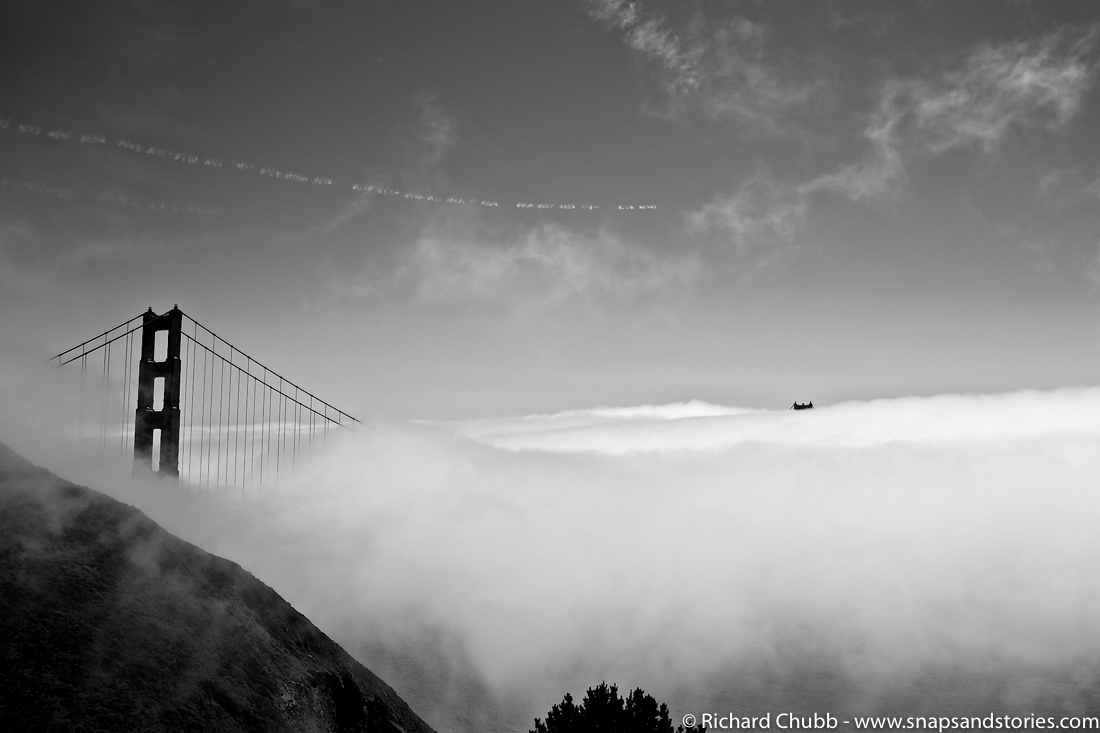 Driving from San Francisco to Monterey Black and White foggy golden gate bridge